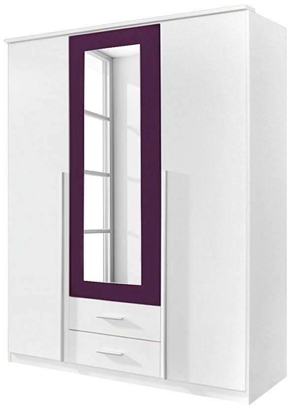 Armoire 3 portes battantes blanc et prune field - Chambre prune et blanc ...