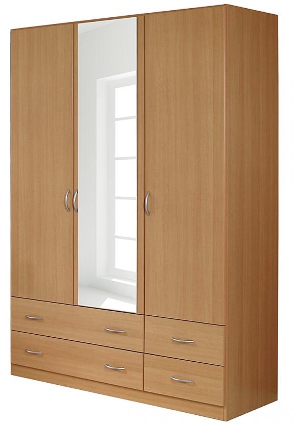 armoire 3 portes battantes 4 tiroirs h tre kadra 4. Black Bedroom Furniture Sets. Home Design Ideas
