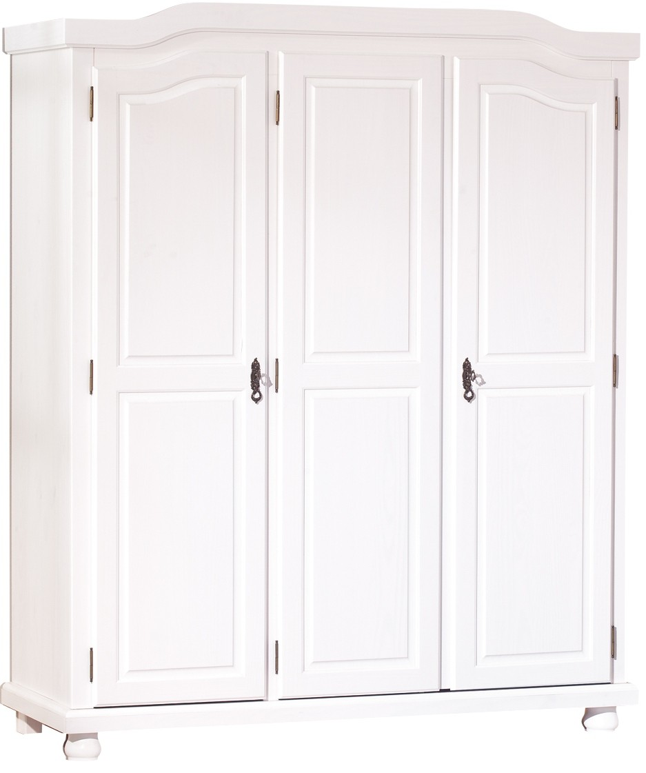 armoire 3 portes blanche fsc pin massif s bastien. Black Bedroom Furniture Sets. Home Design Ideas