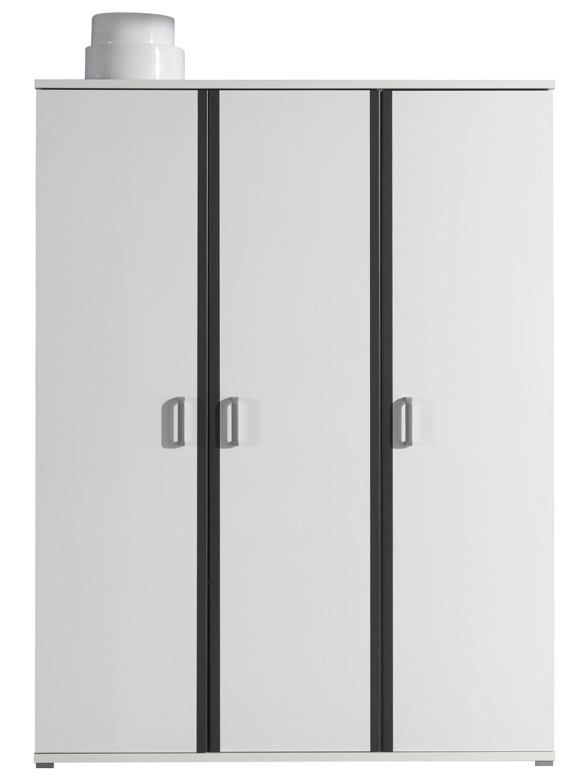 armoire 3 portes bois blanc et gris kuzo. Black Bedroom Furniture Sets. Home Design Ideas
