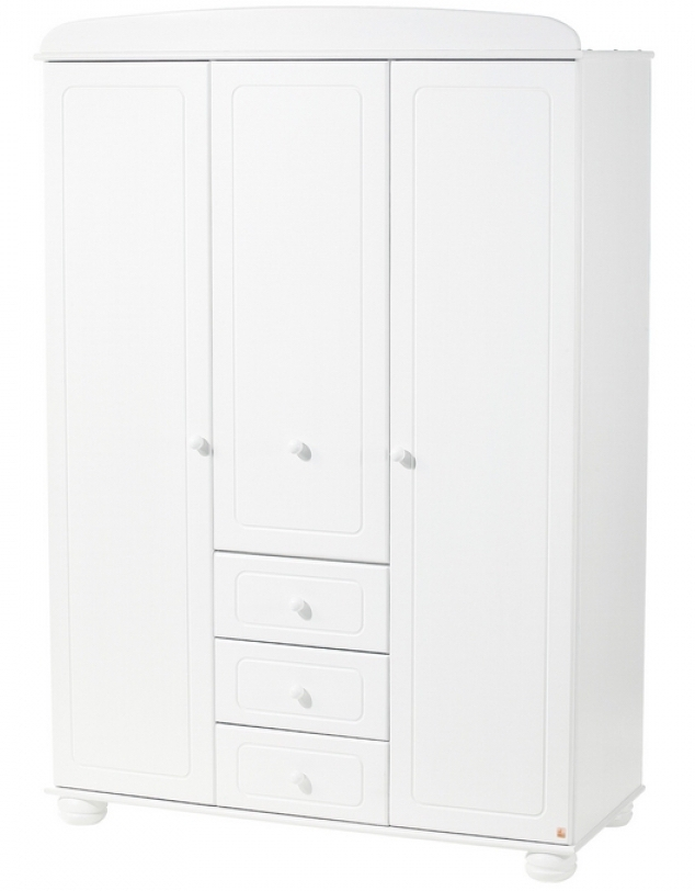 armoire 3 portes bois massif lasur blanc clara. Black Bedroom Furniture Sets. Home Design Ideas