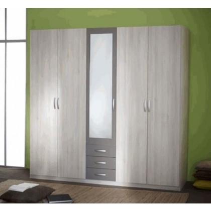 armoire 4 portes avec miroir alabama. Black Bedroom Furniture Sets. Home Design Ideas