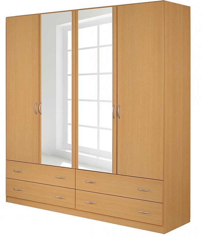 armoire 4 portes battantes 4 tiroirs h tre kadra 4. Black Bedroom Furniture Sets. Home Design Ideas