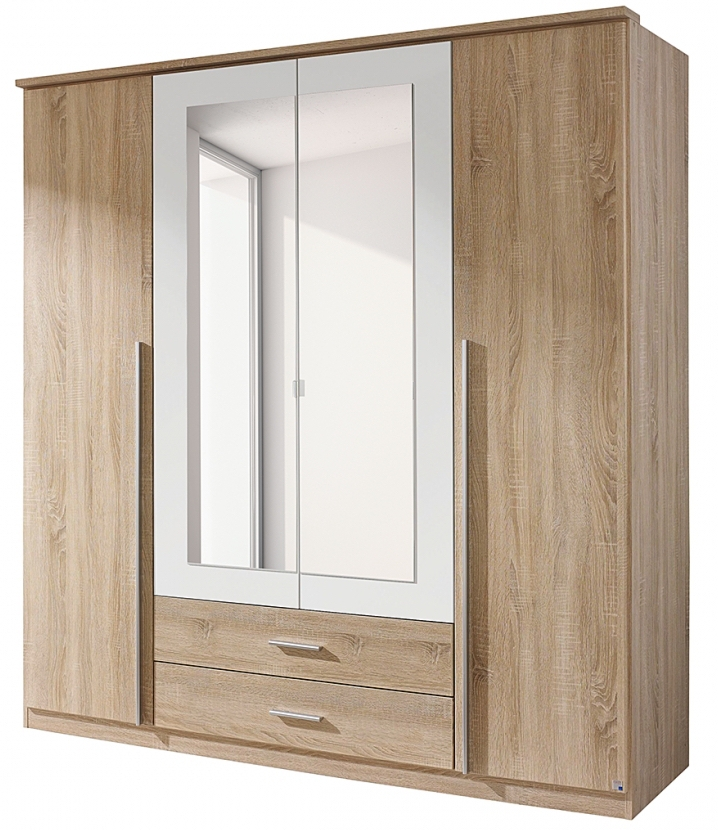 armoire 4 portes battantes ch ne de san remo et blanc field. Black Bedroom Furniture Sets. Home Design Ideas