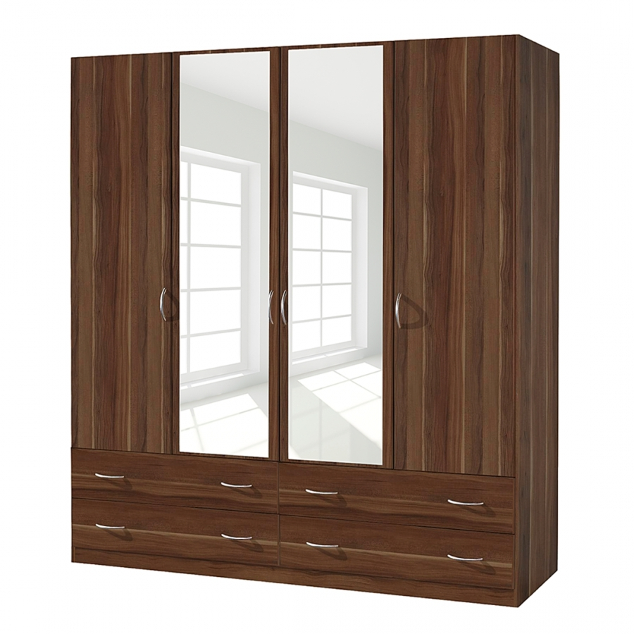 armoire 4 portes battantes 4 tiroirs noyer kadra 4. Black Bedroom Furniture Sets. Home Design Ideas
