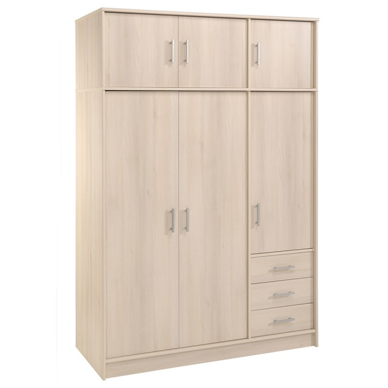 armoire 6 portes 3 tiroirs acacia clair tifany. Black Bedroom Furniture Sets. Home Design Ideas