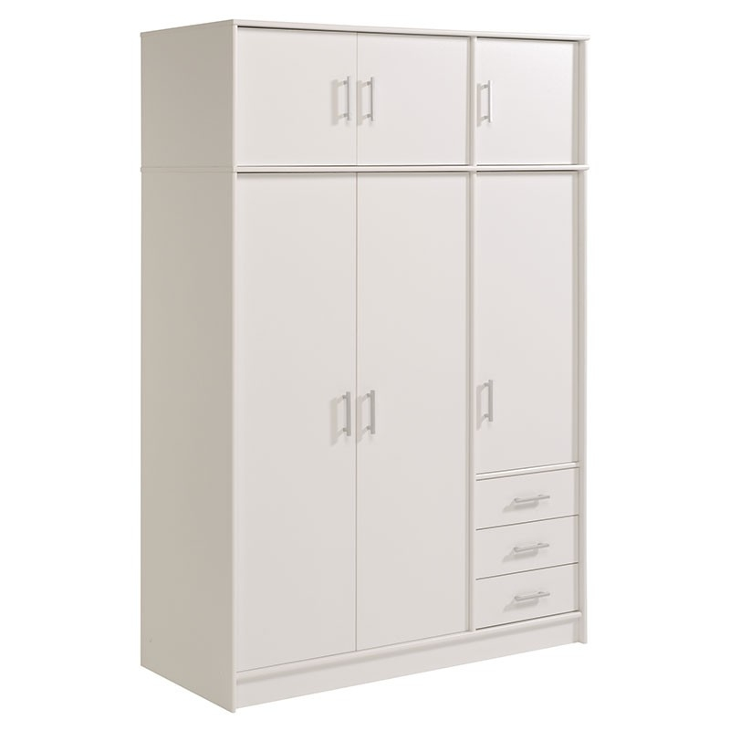 armoire 6 portes 3 tiroirs bois blanc tifany. Black Bedroom Furniture Sets. Home Design Ideas