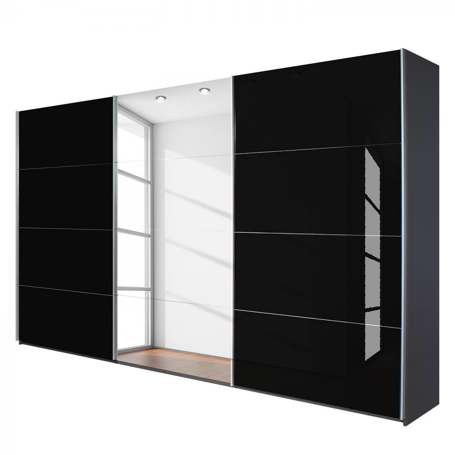 Armoire design miroir gris m tallis et verre noir quadro for Miroir et verre concept