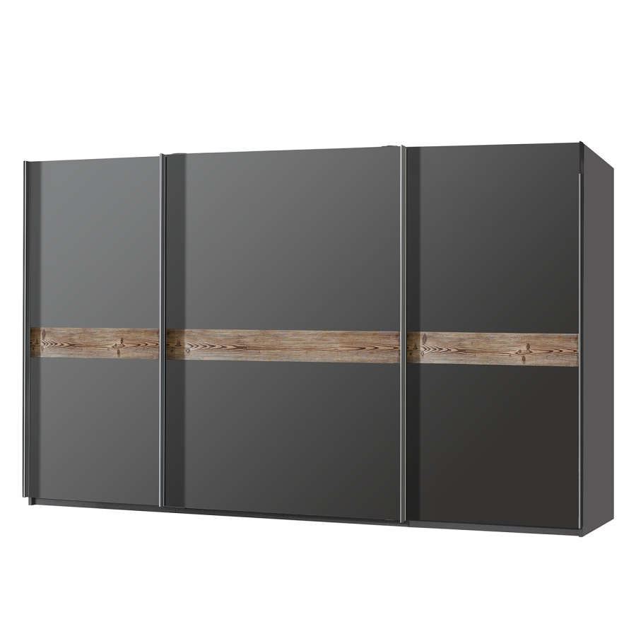 armoire moderne grise 3 portes coulissantes claza longueur 315 cm. Black Bedroom Furniture Sets. Home Design Ideas