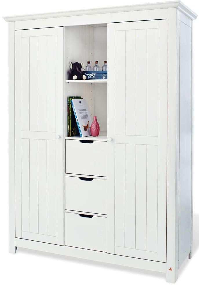 armoire b b 2 portes 3 tiroirs pin massif blanc nina. Black Bedroom Furniture Sets. Home Design Ideas