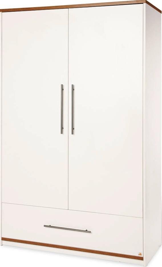 armoire b b 2 portes laqu blanc et noyer tuula. Black Bedroom Furniture Sets. Home Design Ideas
