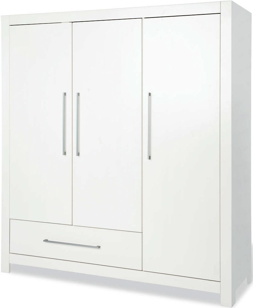 armoire b b 3 portes 1 tiroir pin massif blanc puro. Black Bedroom Furniture Sets. Home Design Ideas
