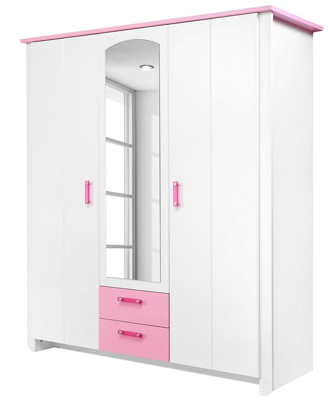 Armoire Blanche et Rose 3 portes Eglantine - LesTendances.fr