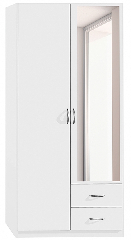 armoire blanche 2 portes battantes 2 tiroirs kaze. Black Bedroom Furniture Sets. Home Design Ideas