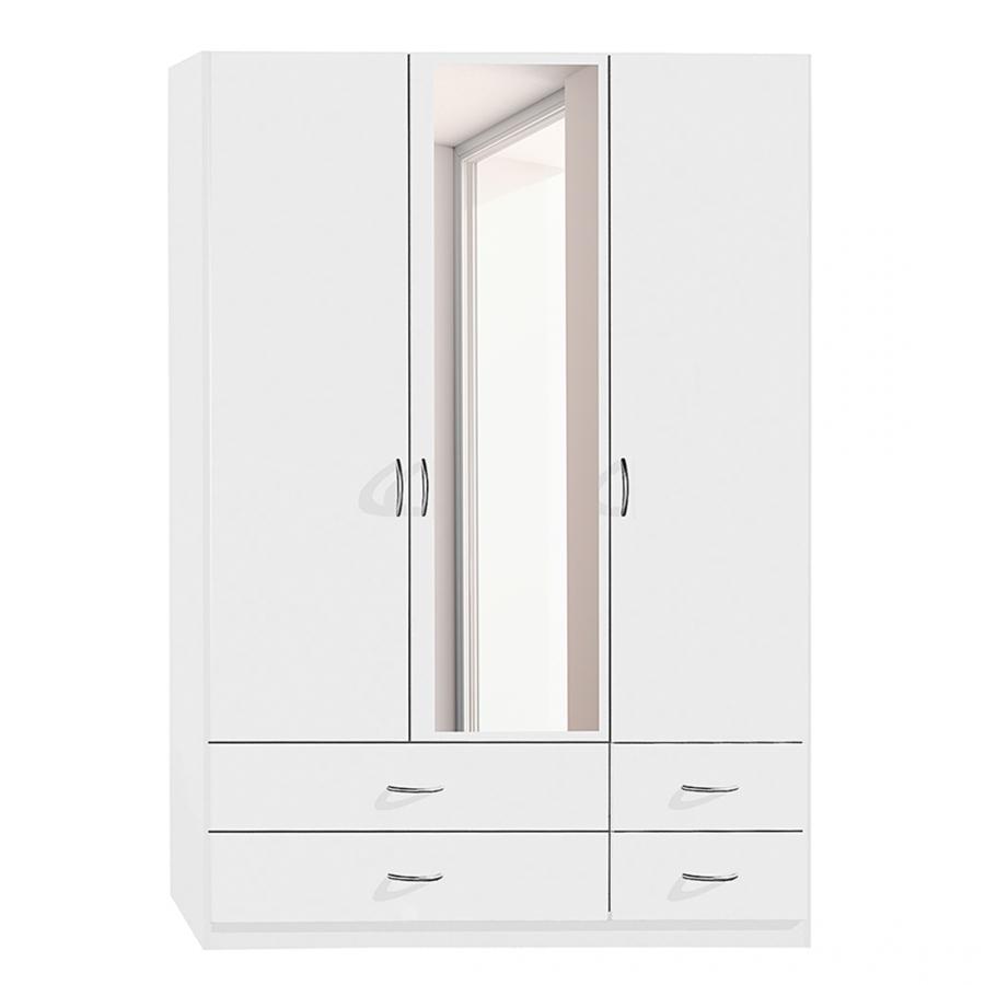 Armoire blanche 3 portes battantes 4 tiroirs kaze - Armoire 3 portes blanche ...