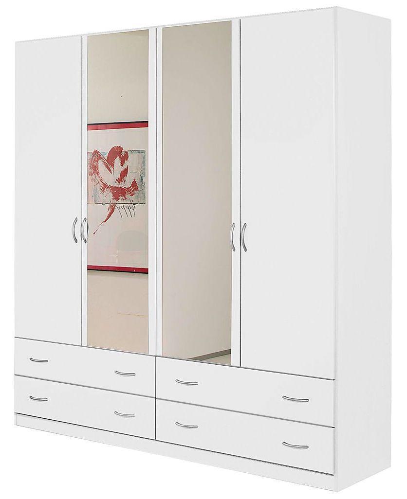armoire blanche 4 portes battantes 4 tiroirs kaze. Black Bedroom Furniture Sets. Home Design Ideas