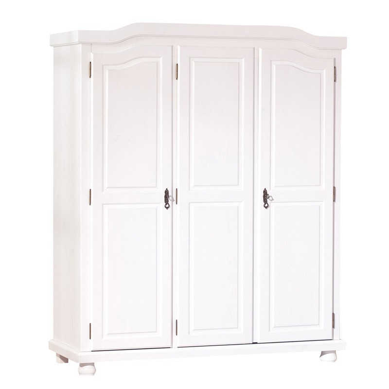 armoire blanche pin massif bastien. Black Bedroom Furniture Sets. Home Design Ideas