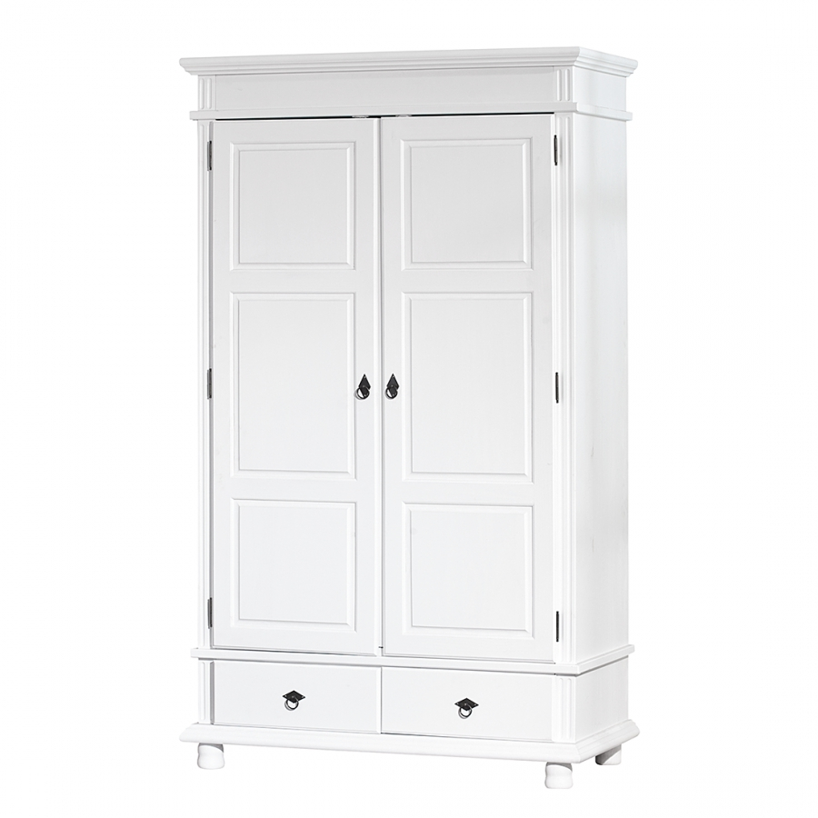 armoire 2 portes blanche pin massif danz. Black Bedroom Furniture Sets. Home Design Ideas