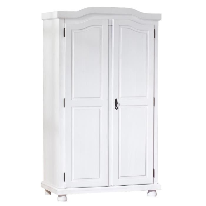 armoire 2 portes pin massif blanc rustika. Black Bedroom Furniture Sets. Home Design Ideas