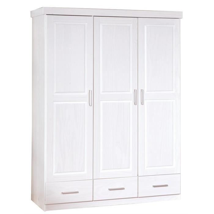 armoire blanche pin massif tino. Black Bedroom Furniture Sets. Home Design Ideas