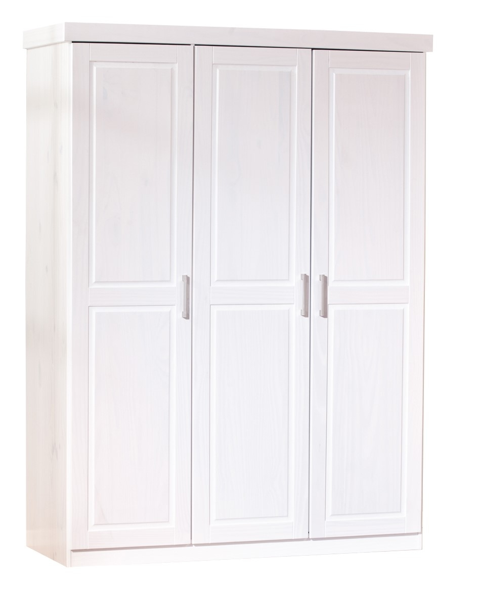 armoire 3 portes pin massif blanc kantus. Black Bedroom Furniture Sets. Home Design Ideas