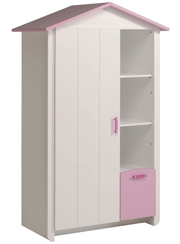 armoire cabine 1 porte blanche et rose betty. Black Bedroom Furniture Sets. Home Design Ideas
