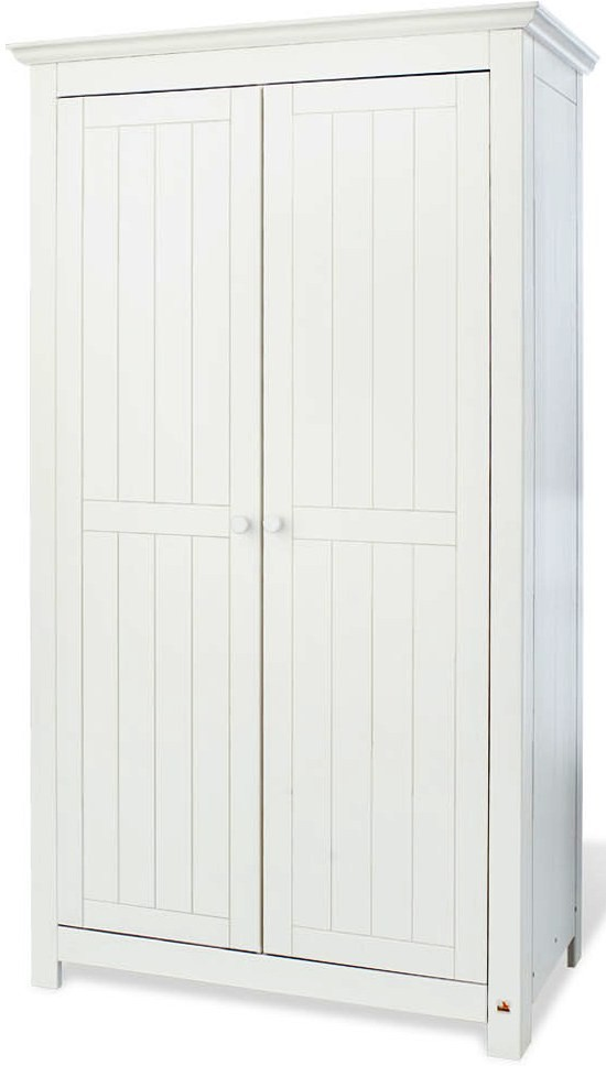 armoire chambre 2 portes pin massif blanc nina. Black Bedroom Furniture Sets. Home Design Ideas