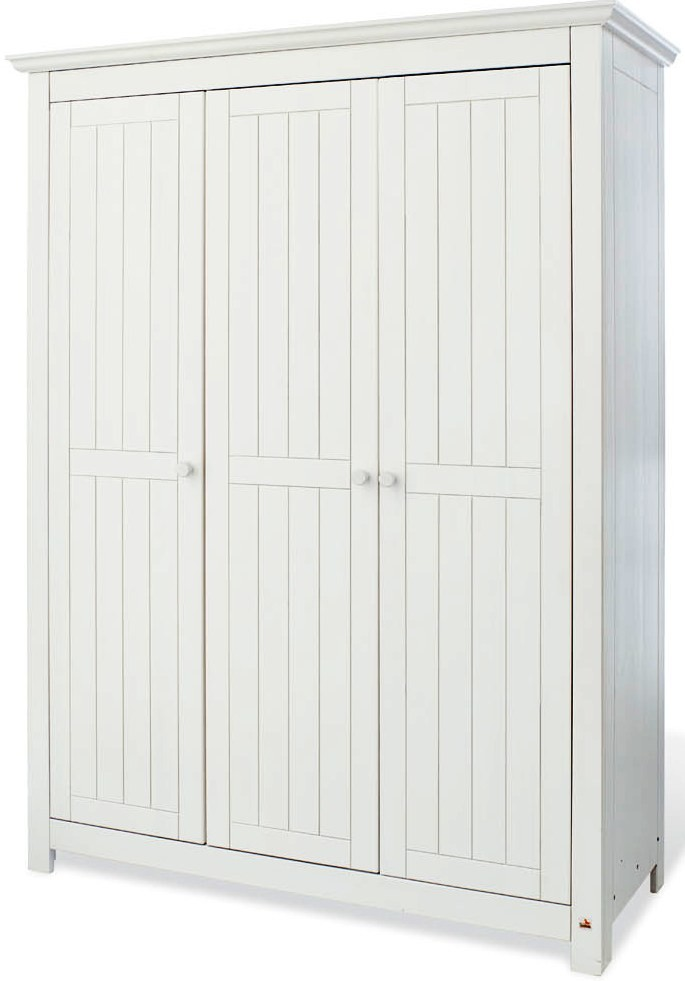 armoire chambre 3 portes pin massif blanc nina. Black Bedroom Furniture Sets. Home Design Ideas