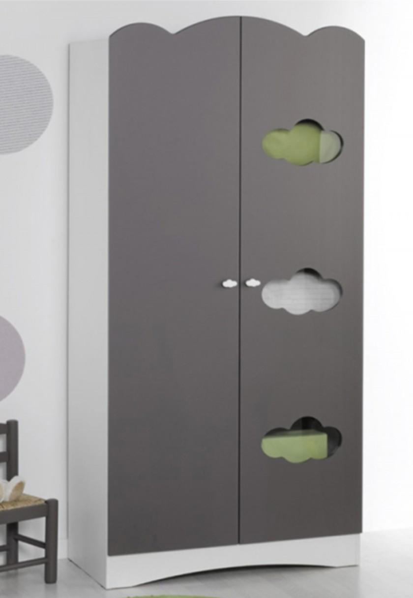 armoire chambre taupe 2 portes alt a. Black Bedroom Furniture Sets. Home Design Ideas