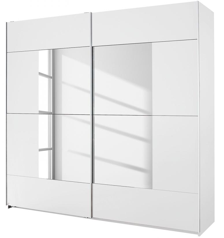 Armoire 2 portes coulissantes Blanches avec miroir Milato Modéle L ...
