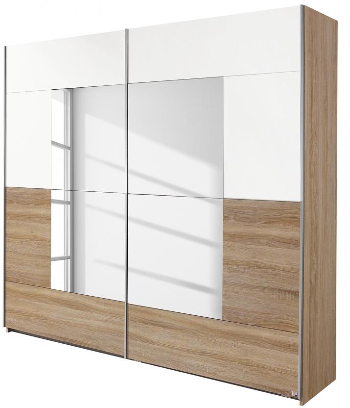 Armoire 2 portes coulissantes Chêne Sonoma et Blanc avec miroir ...