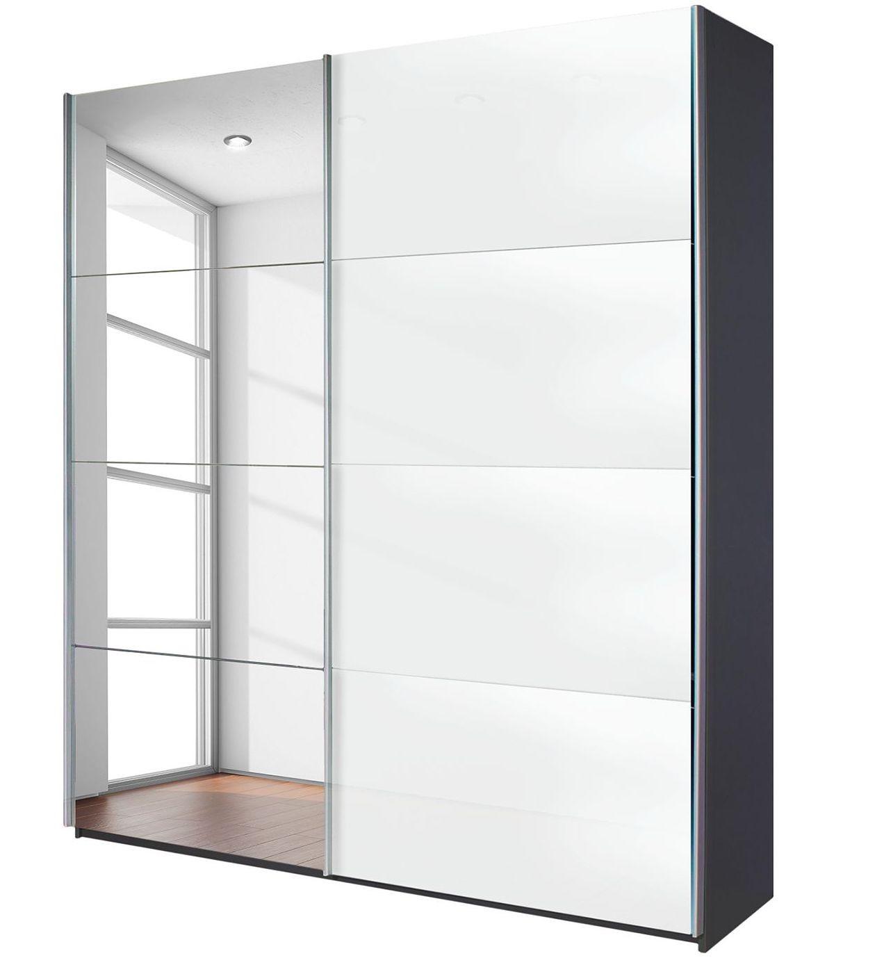 Armoire design 2 portes coulissantes verre teint blanc et miroir et gris anthracite luxia for Miroir teinte design