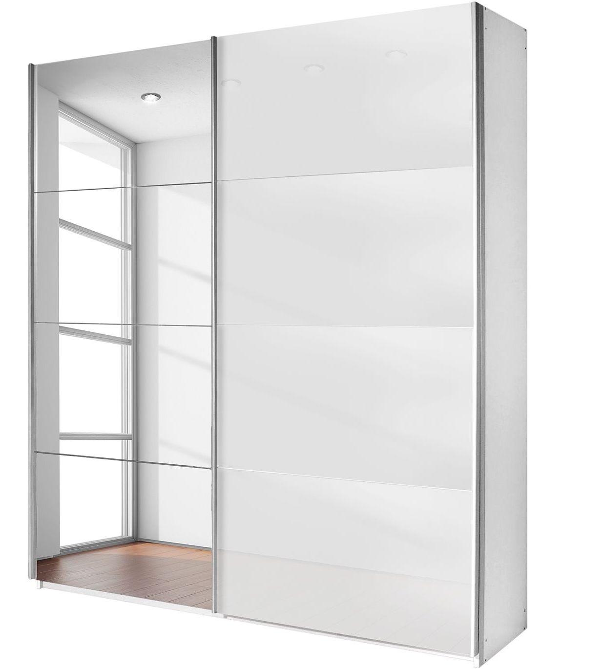 Armoire design 2 portes coulissantes verre teint blanc et miroir luxia mod le l 136 cm h 210 for Miroir teinte design