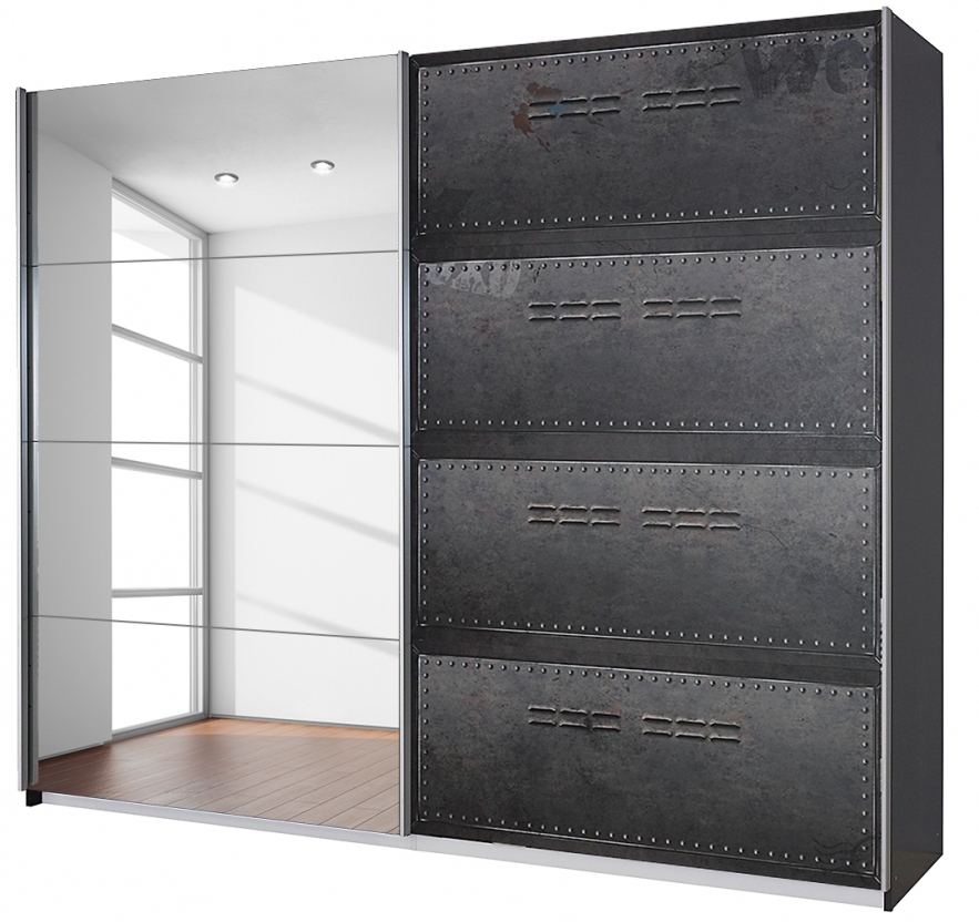 armoire portes coulissantes style industriel graphite work longueur 136 cm. Black Bedroom Furniture Sets. Home Design Ideas