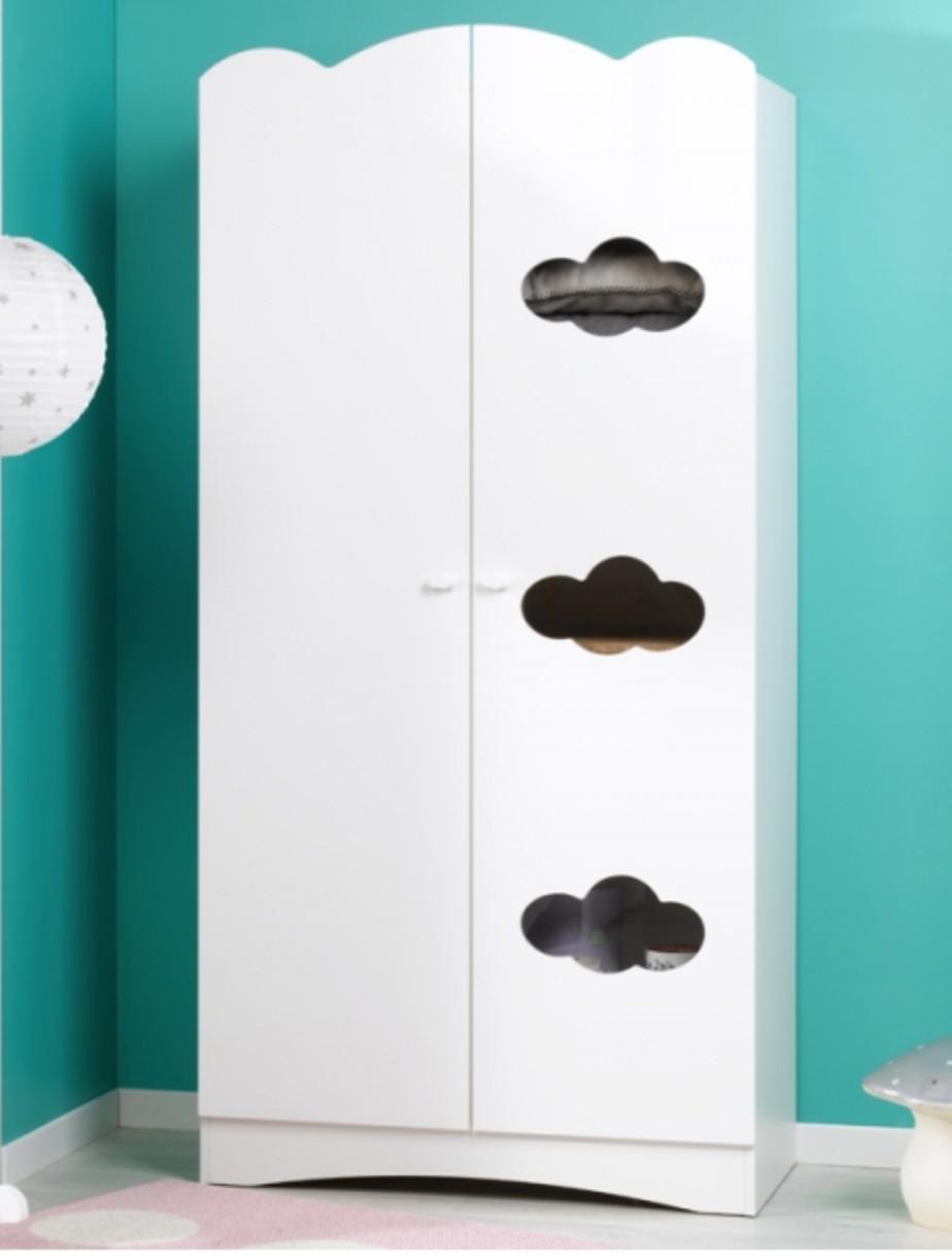 armoire enfant 2 portes blanche ciela. Black Bedroom Furniture Sets. Home Design Ideas