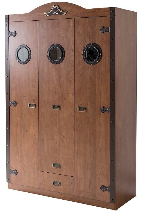 Armoire chambre gar on 3 portes marron et naturel pirate - Armoire suspendue chambre ...