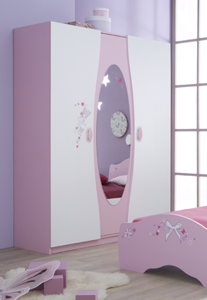 armoire enfant 3 portes blanc et rose girly. Black Bedroom Furniture Sets. Home Design Ideas