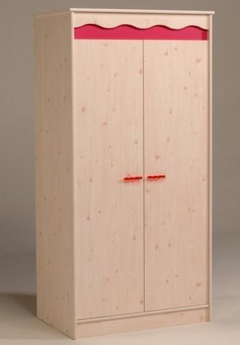 armoire enfant pin et framboise 2 portes lola. Black Bedroom Furniture Sets. Home Design Ideas