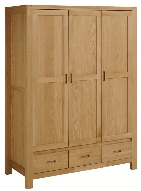 armoire 3 portes bois massif ch ne huil margot. Black Bedroom Furniture Sets. Home Design Ideas