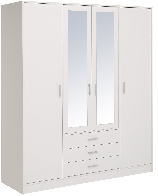 Armoire bois blanc 4 portes 2 miroirs home 176 for Porte bois blanc