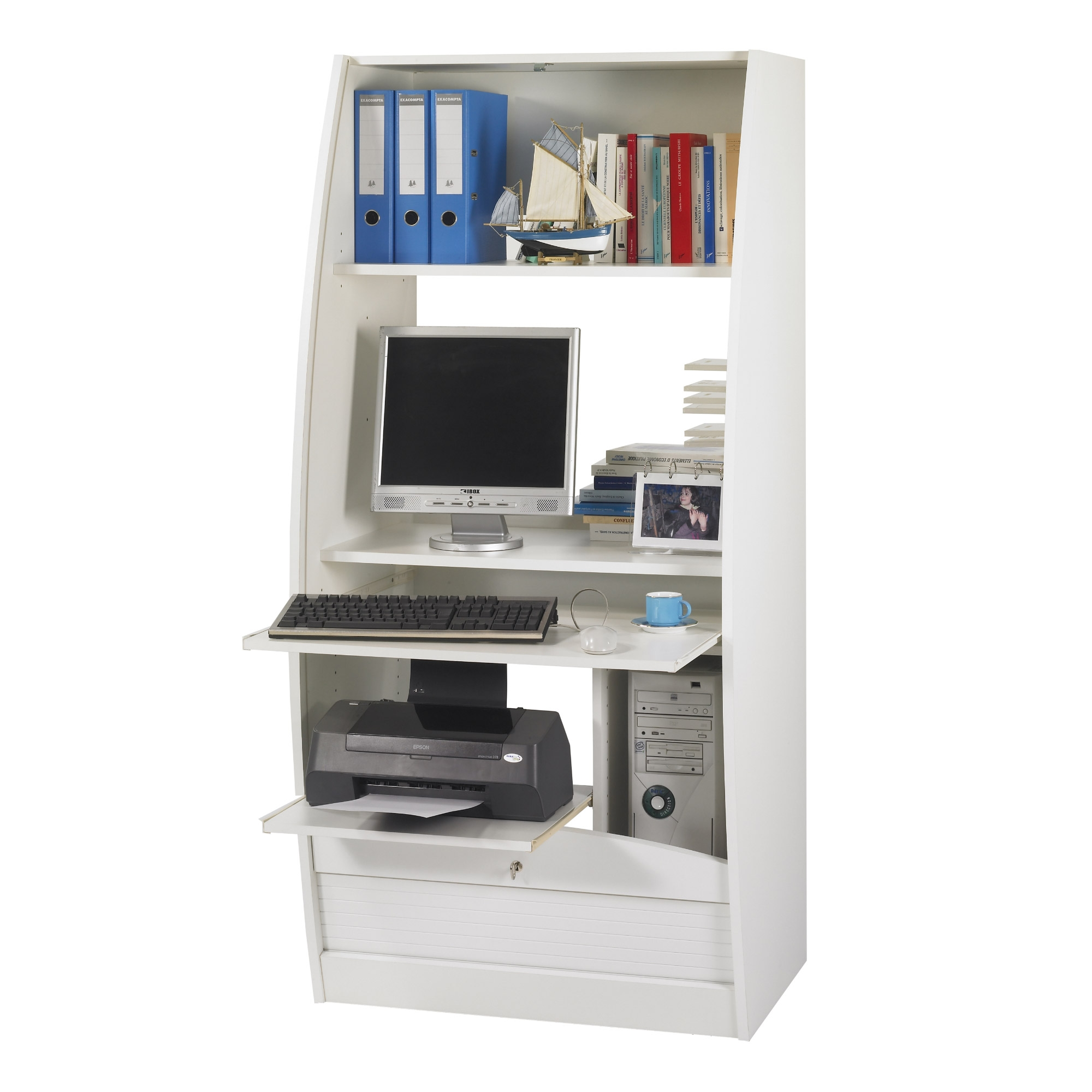 Armoire informatique 80 cm blanc paris 580 for Meuble armoire informatique