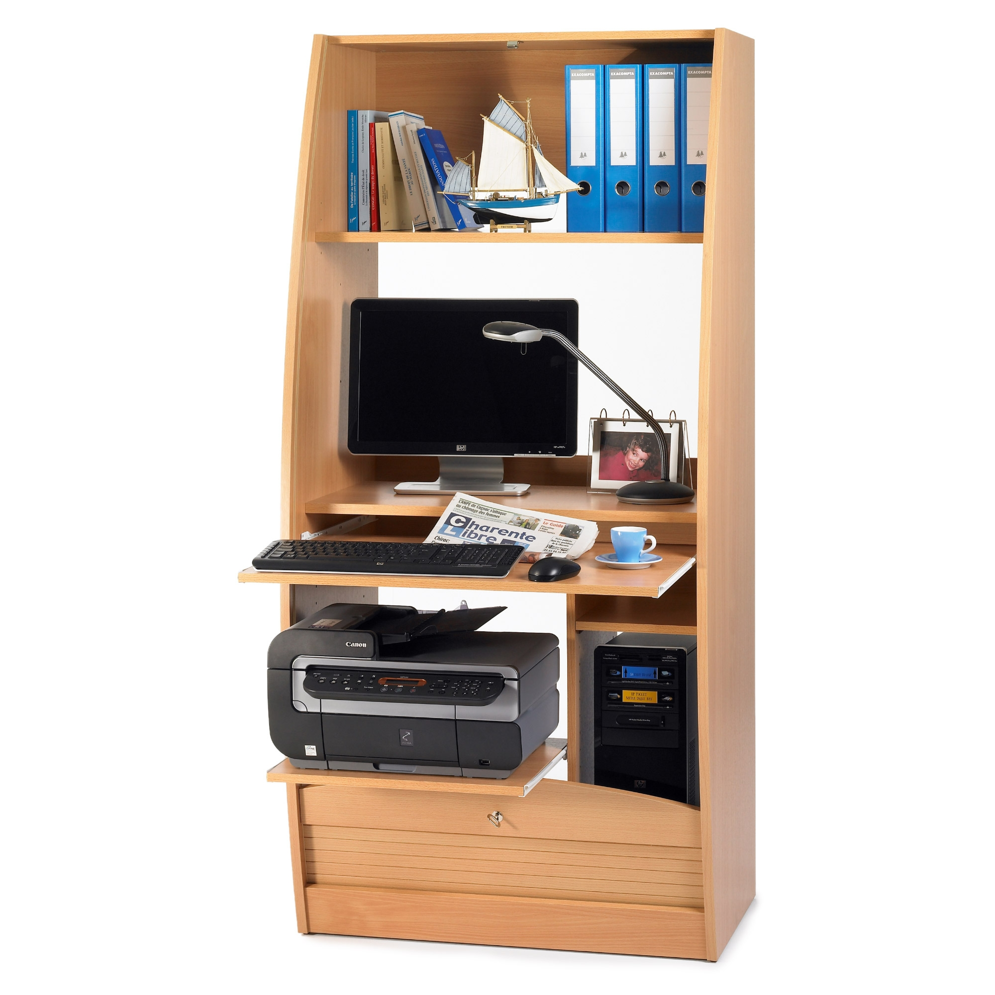 Armoire informatique 80 cm h tre paris 580 for Meuble bureau coulissant