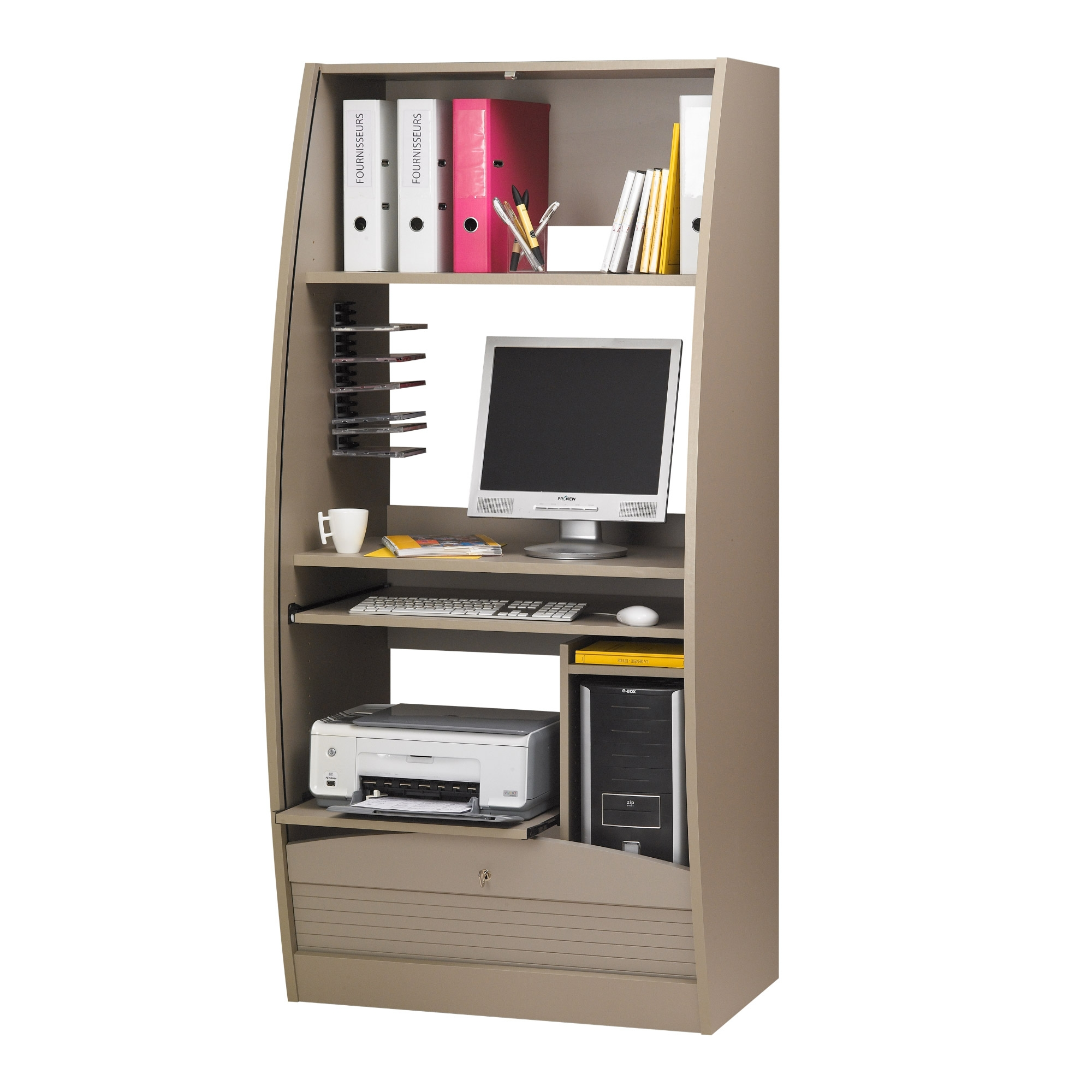 Armoire informatique 80 cm taupe paris 580 - Bureau informatique ferme ...