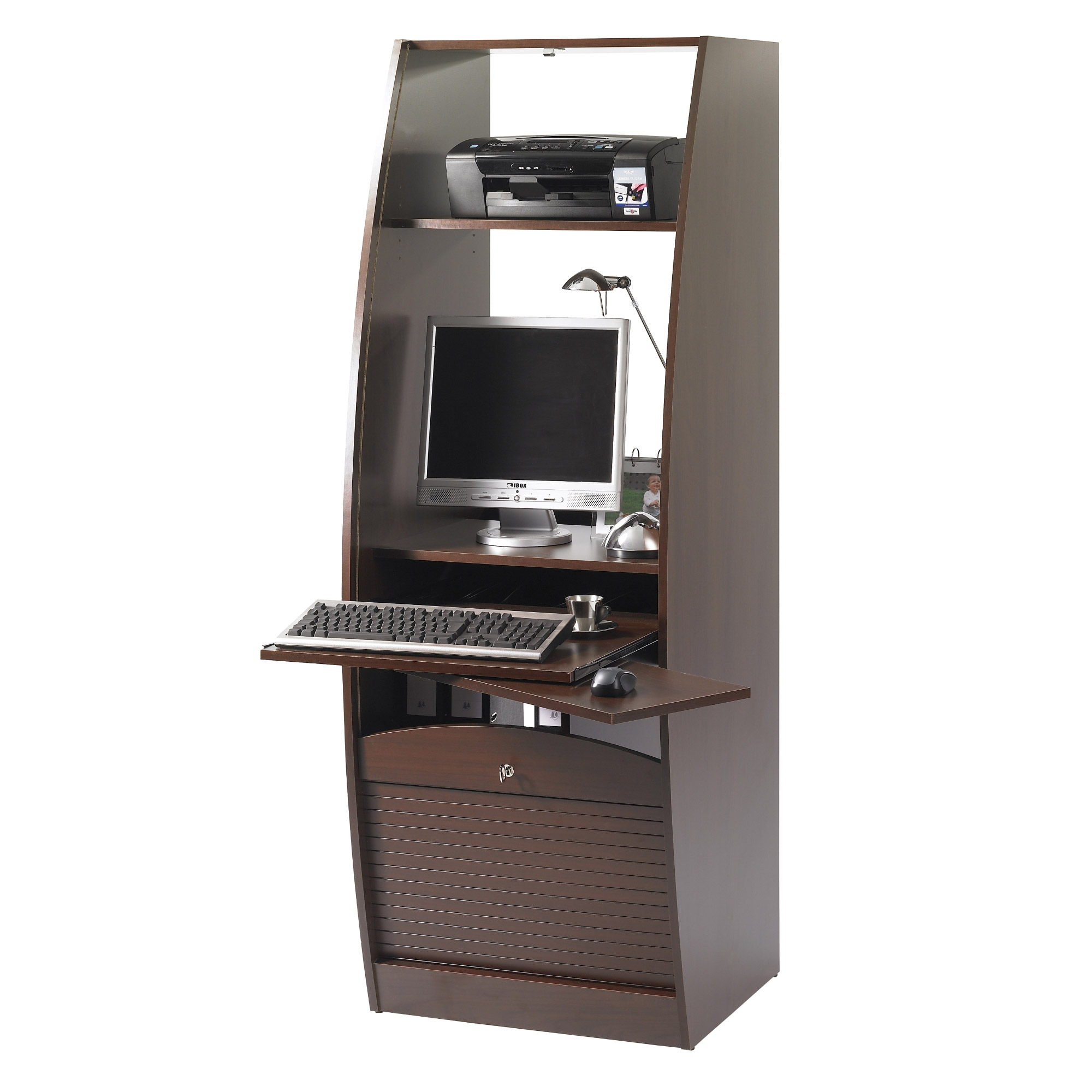 Armoire informatique marron 60 cm paris 572 for Bureau armoire informatique