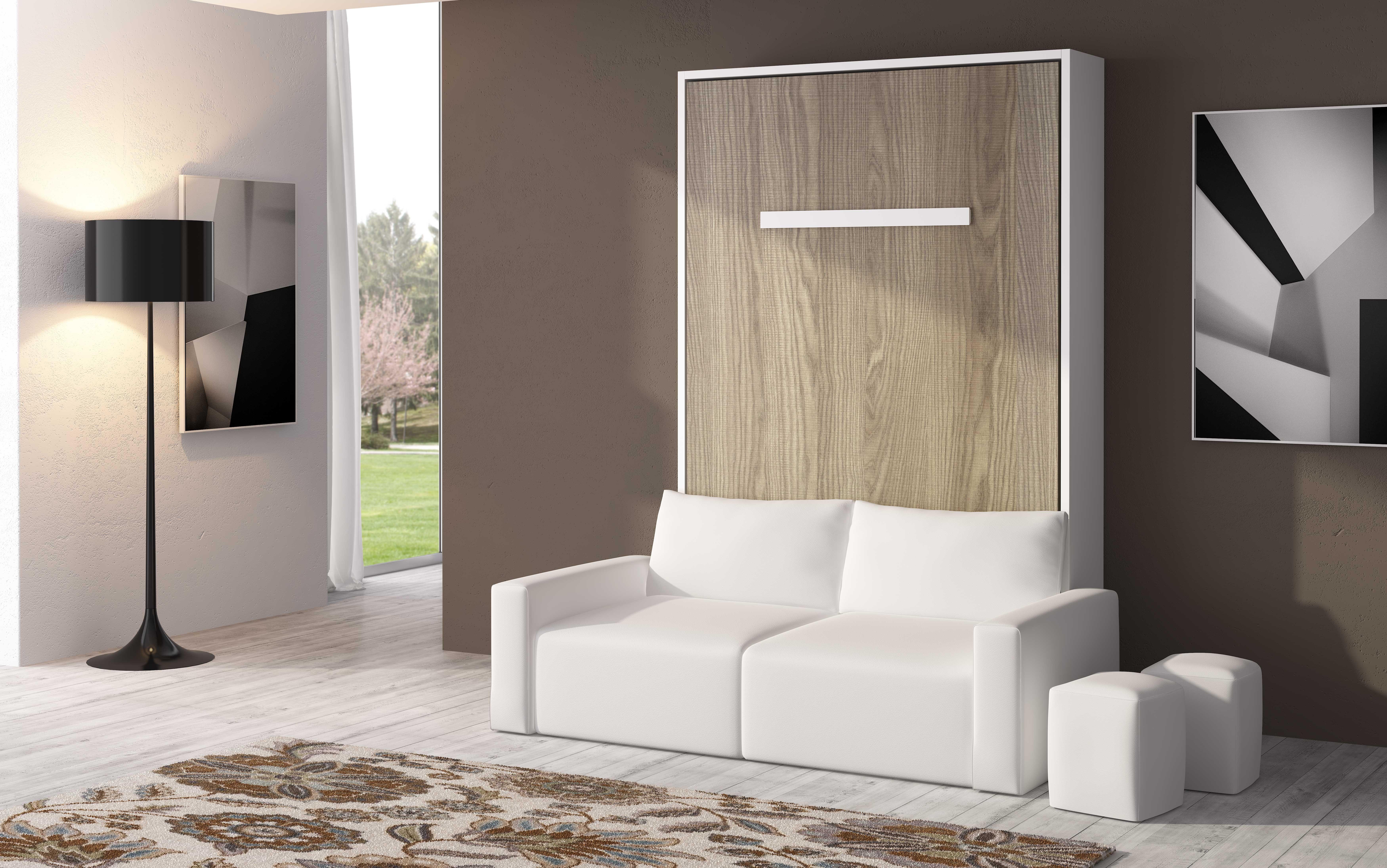 armoire lit escamotable verticale canap coffre espacia 140 facade blanc canap anthracite. Black Bedroom Furniture Sets. Home Design Ideas