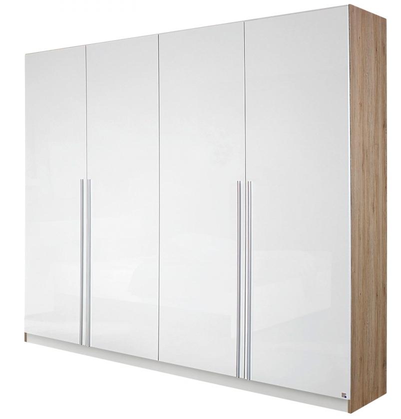 armoire 4 portes 226 blanc brillant et ch ne clair de. Black Bedroom Furniture Sets. Home Design Ideas