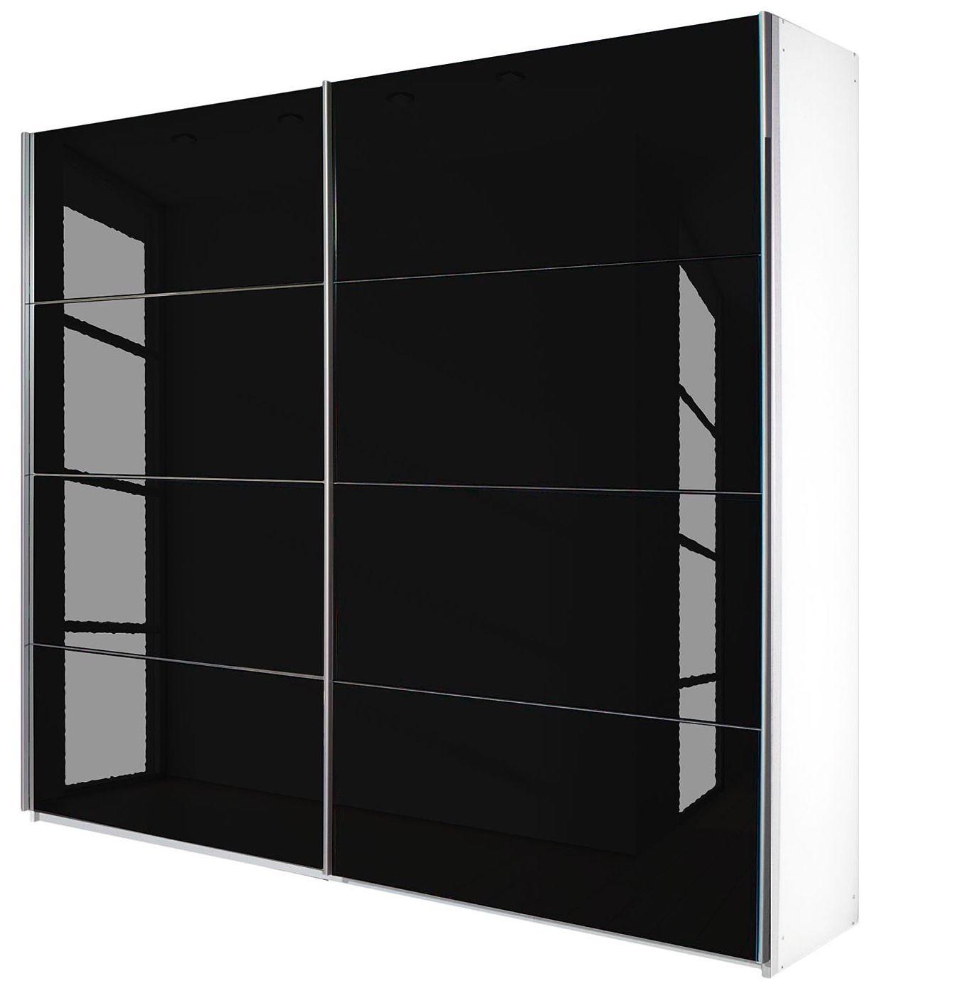 Armoire design 2 portes coulissantes verre teint noir luxia mod le l 181 cm h 210 cm - Armoire coulissante noir ...