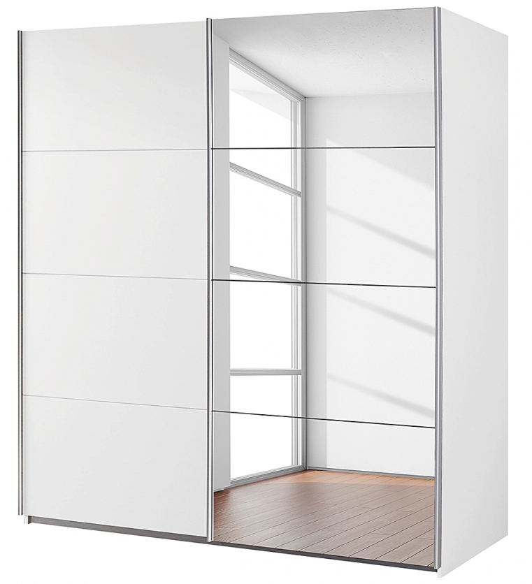 armoire 2 portes coulissantes 1 miroir blanc balto mod le l 136 cm h 197 cm. Black Bedroom Furniture Sets. Home Design Ideas