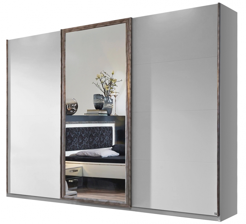 armoire 3 portes coulissantes avec fa ade miroir mirya 315. Black Bedroom Furniture Sets. Home Design Ideas