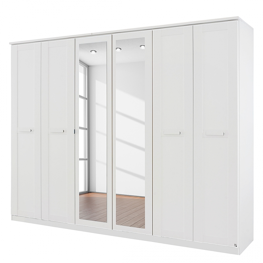 armoire 6 portes blanc avec miroir kurik. Black Bedroom Furniture Sets. Home Design Ideas